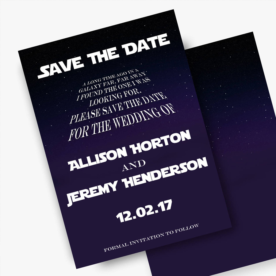 Star Wars Save the Dates Star Wars Theme Weddings Disney Wedding Announcement printable