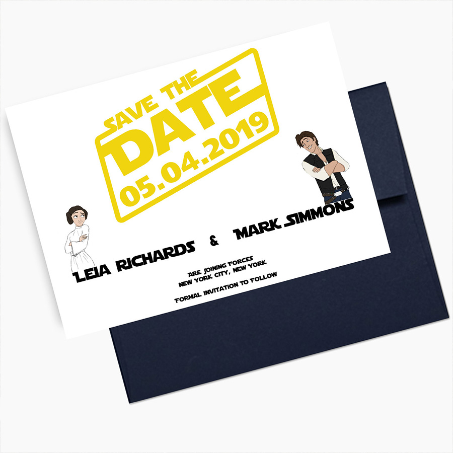 Star Wars Wedding Save the Date Cards Princess Leia and Hans Solo Star Wars Theme Wedding Disney Save the Dates