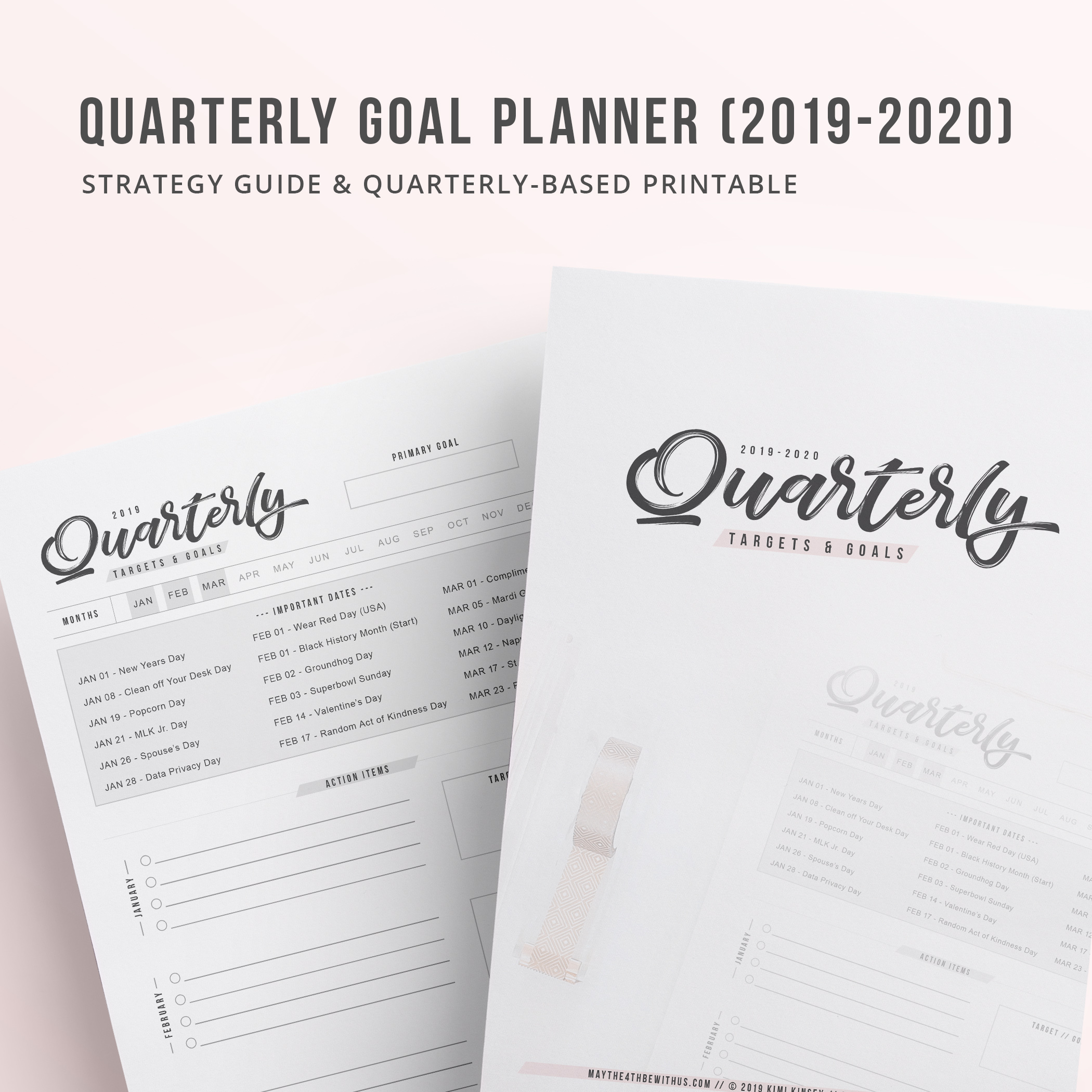 photo about Goal Tracker Printable referred to as Quarterly Plans Tracker Printable (2019-2020)